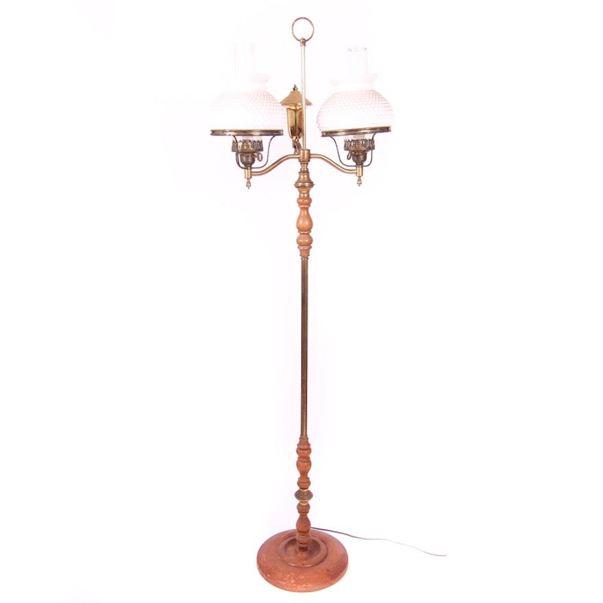 Floor Lamp With Hobnail Milk Gl