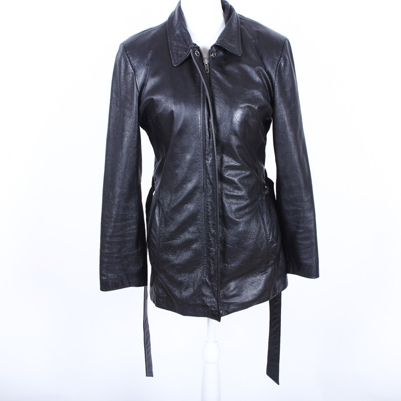 Women's Wilson's Black Leather Thinsulate Jacket