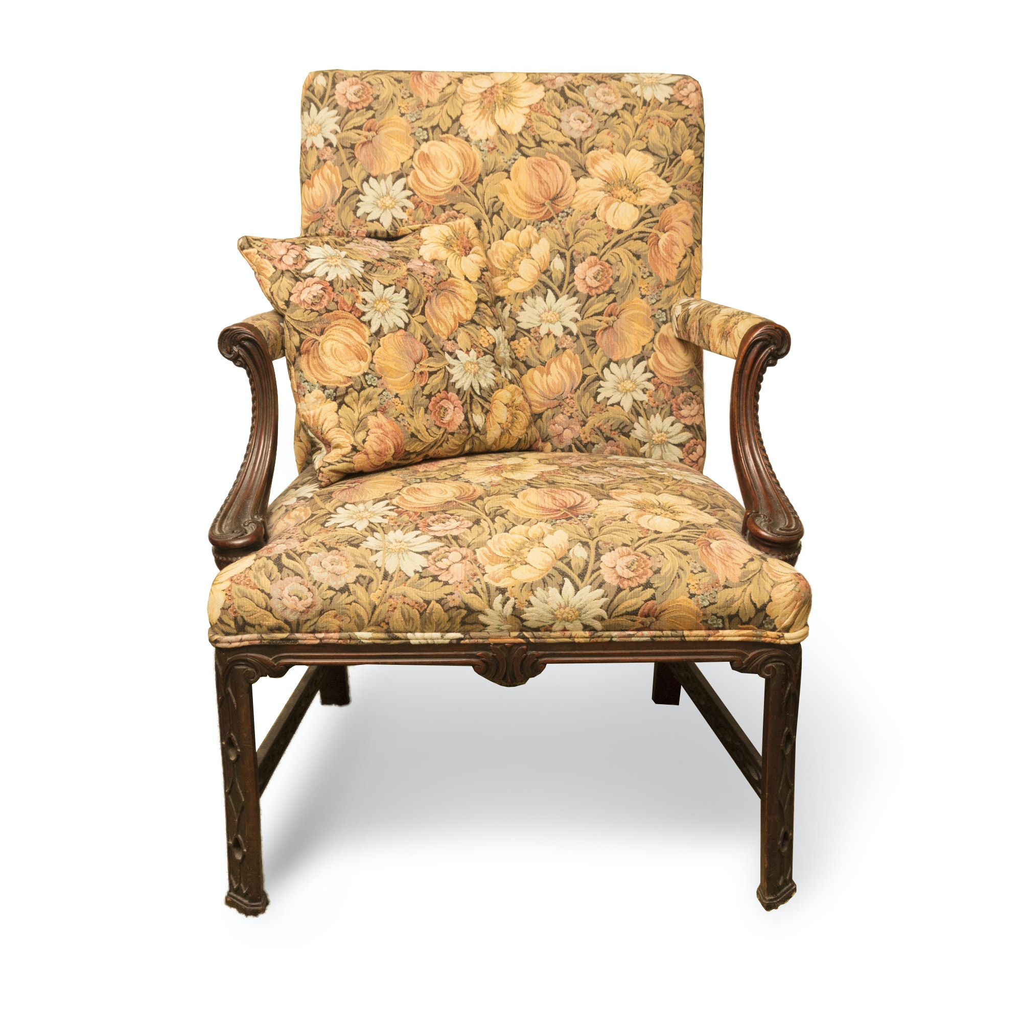 Vintage Floral Upholstered Carved Arm Chair