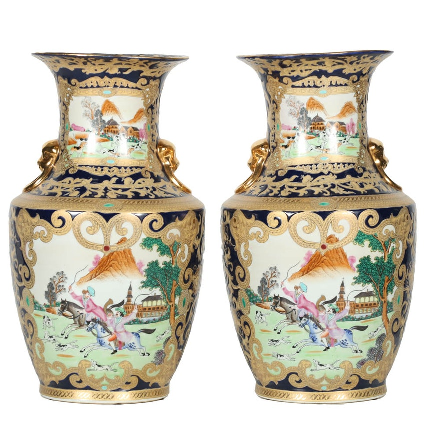 Pair of Late 20th-Century Chinese Decorative Porcelain Vases