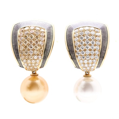 Leo De Vroomen 18K Yellow Gold 4.16 CTW Diamond, South Sea Pearl and Enamel Drop Earrings
