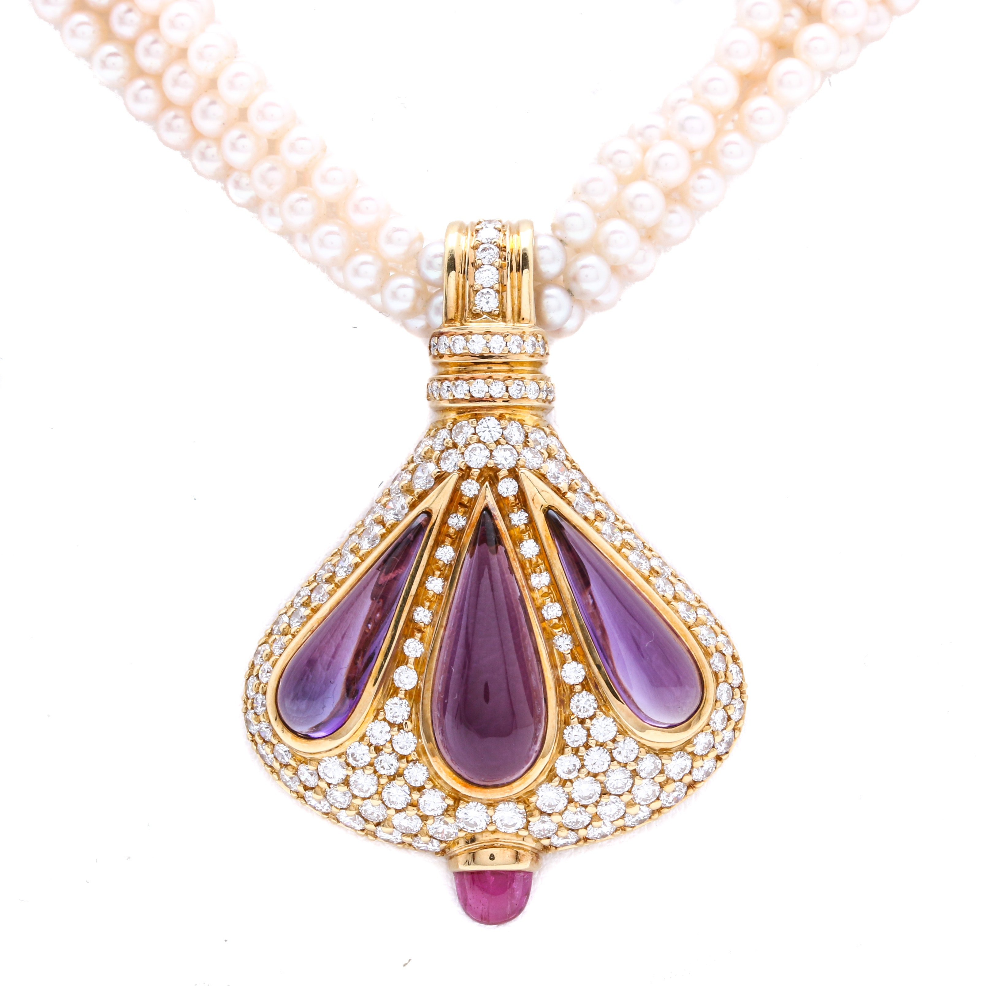 18K Yellow Gold 3.00 CTW Diamond, Amethyst, Pink Sapphire and Pearl Necklace