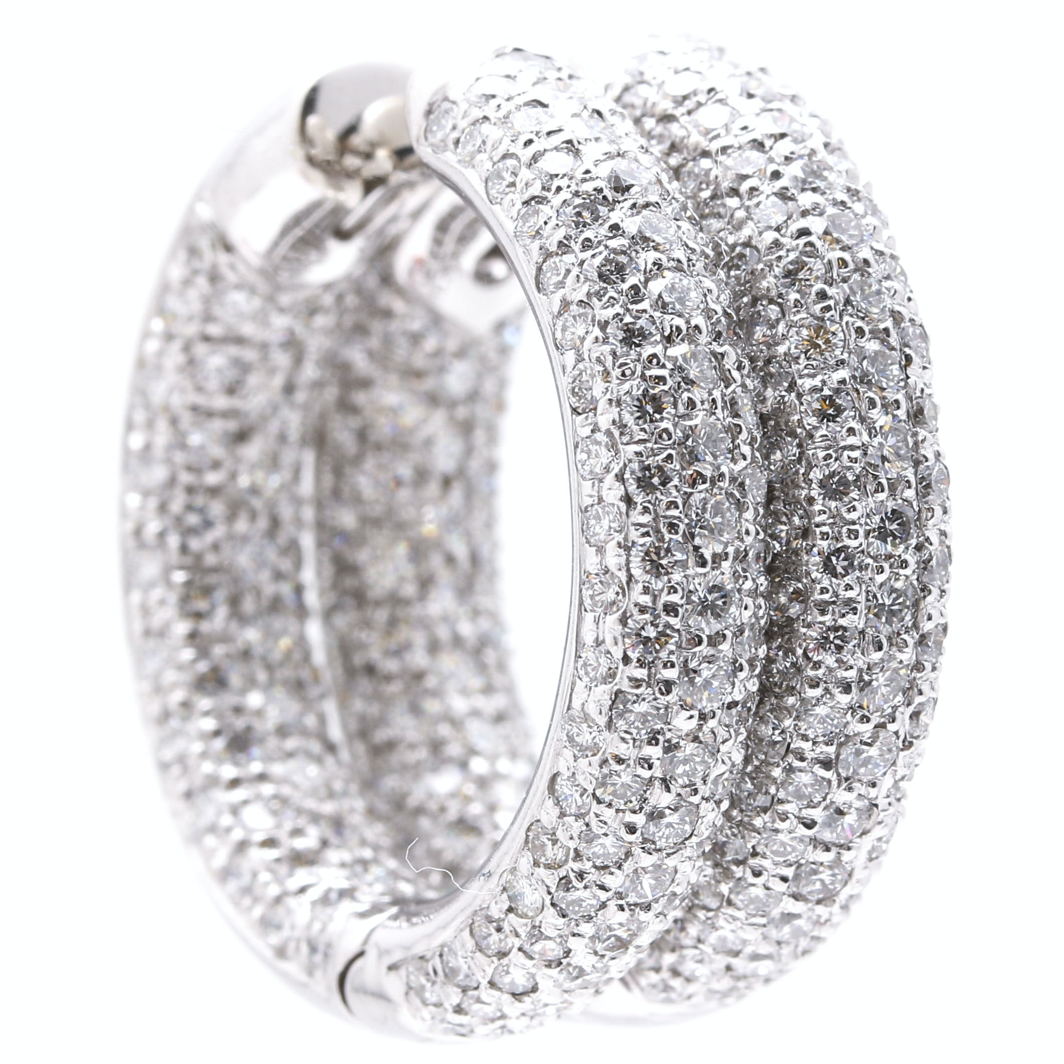 18K White Gold 4.97 CTW Diamond Huggie Hoop Earrings