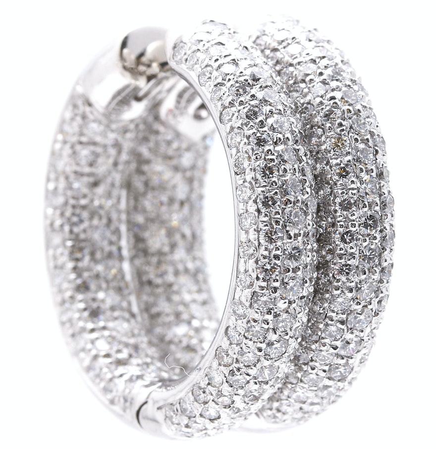 18k White Gold 497 Ctw Diamond Huggie Hoop Earrings