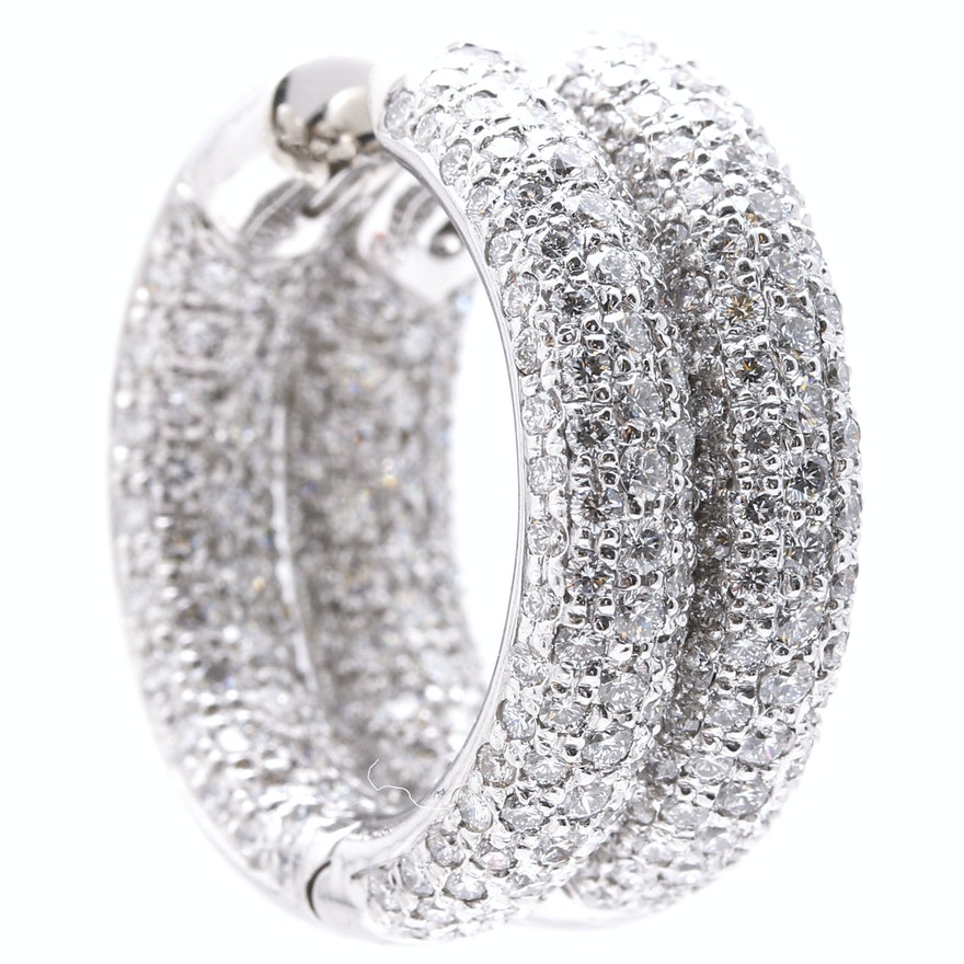 18K White Gold 4.97 CTW Diamond Huggie Hoop Earrings