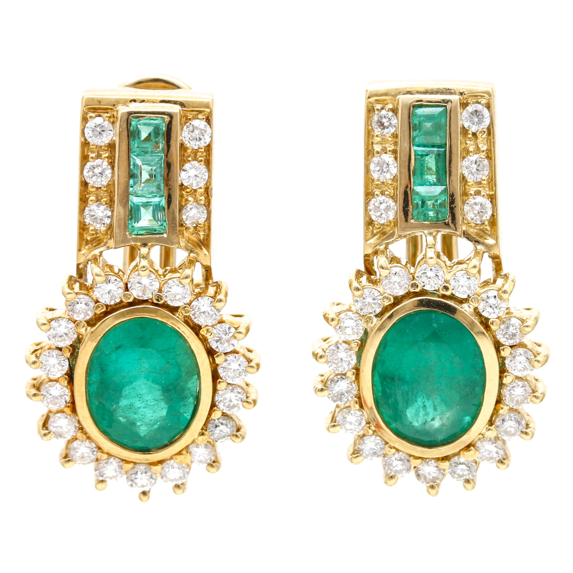 18K Yellow Gold 3.00 CTW Emerald and 0.95 CTW Diamond Earrings