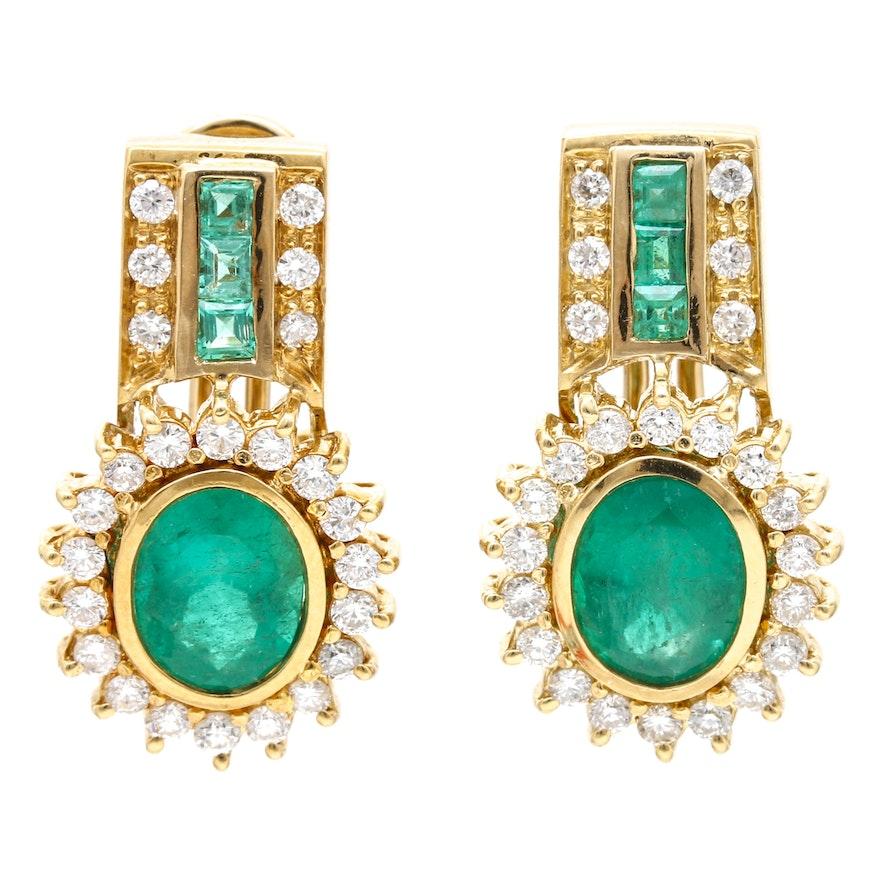 18K Yellow Gold 3.00 CTW Emerald and 0.95 CTW Diamond Earrings