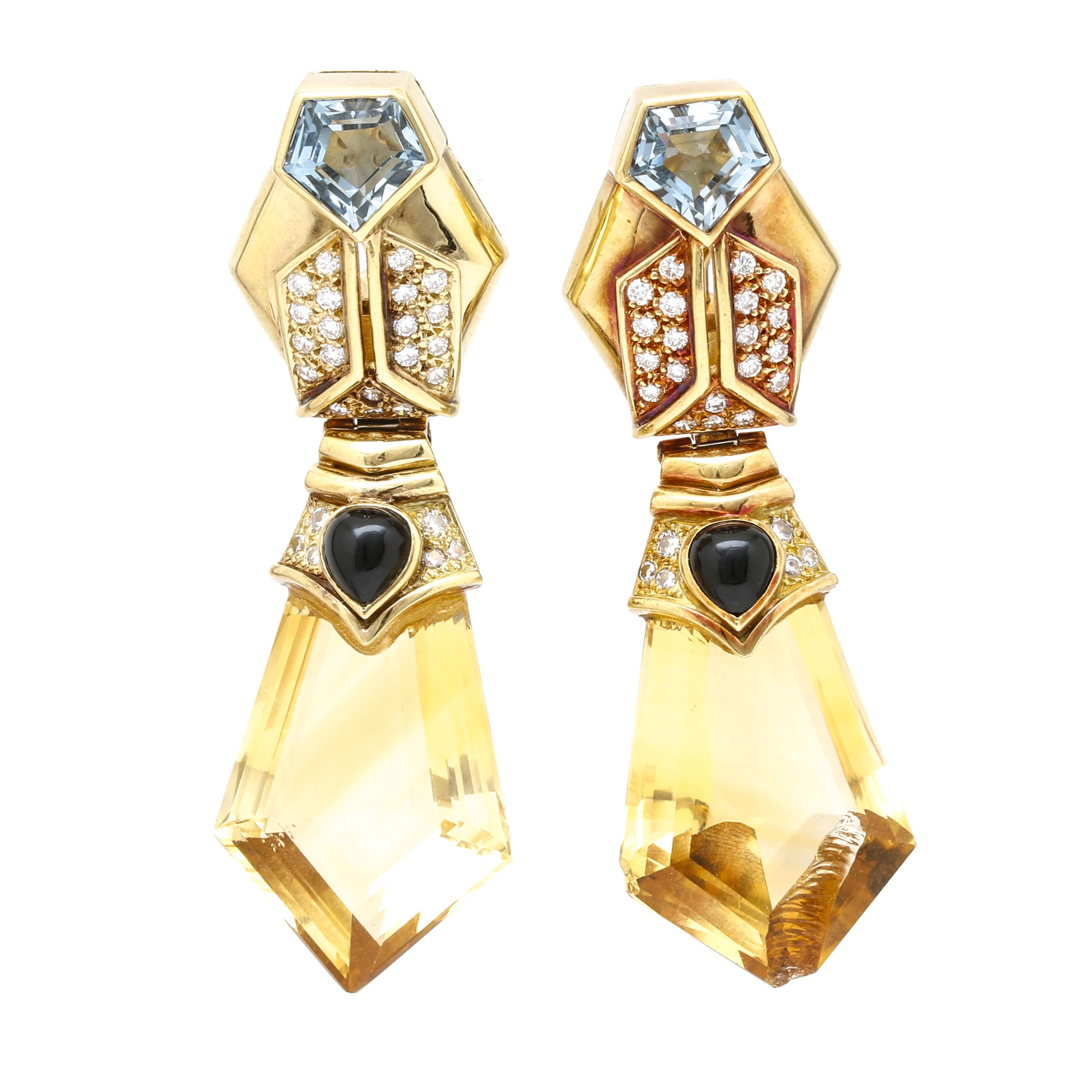 18K Two-Tone Gold Diamond, Citrine, and Blue Topaz, and Onyx Convertible Stud or Drop Earrings