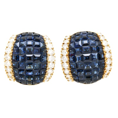 18K Yellow Gold 13.50 CTW Sapphire and 1.57 CTW Diamond Earrings