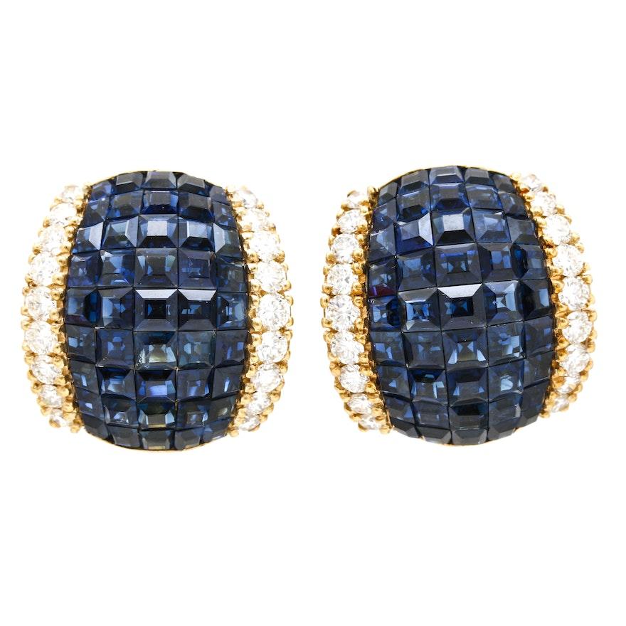 18K Yellow Gold 13.50 CTW Sapphire and 1.57 CTW Diamond Earrings