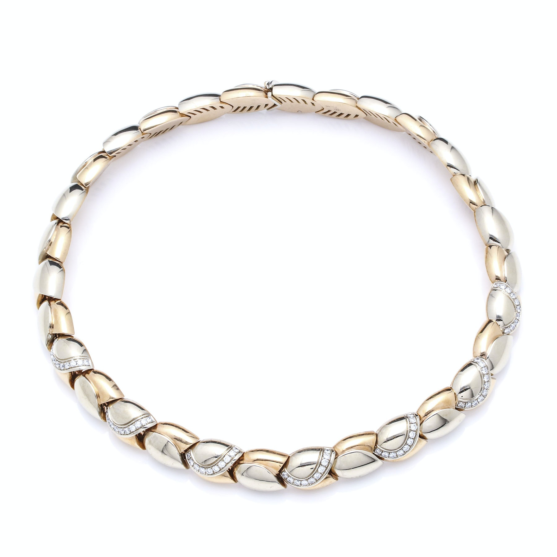 18K Two Tone Gold 1.41 CTW Diamond Tulip Choker