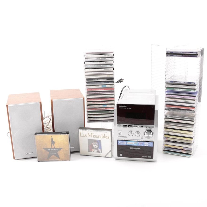 Panasonic Bookshelf Stereo And Over 50 CDs