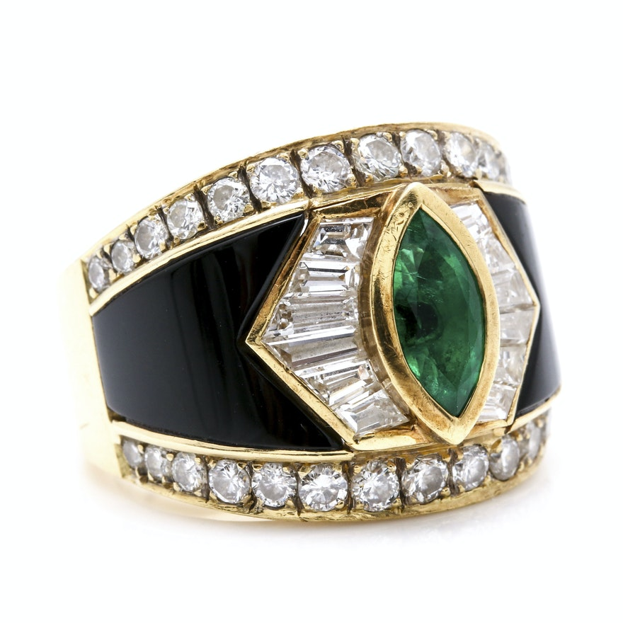 18K Yellow Gold 1.64 CTW Diamond, Emerald, and Onyx Inlay Ring