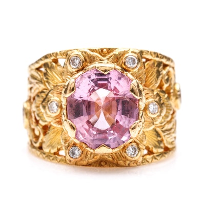 22K Yellow Gold 2.99 CT Pink Spinel and Diamond Foliate Ring