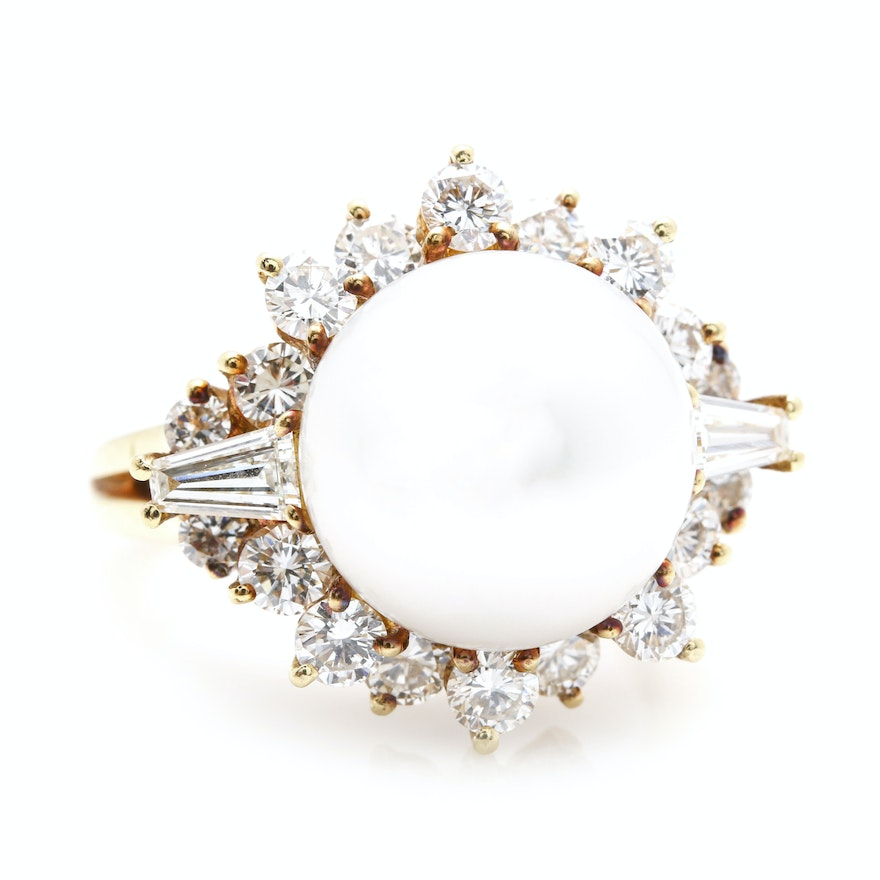 18K Yellow Gold South Sea Pearl and 2.00 CTW Diamond Ring