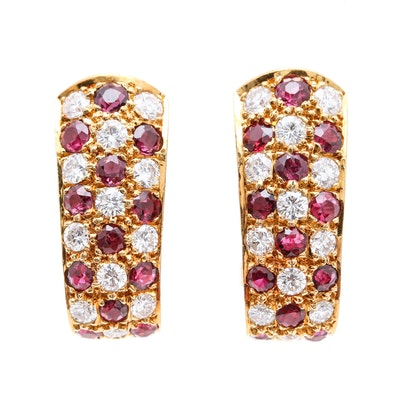 18K Yellow Gold Diamond and Ruby J-Hoop Earrings