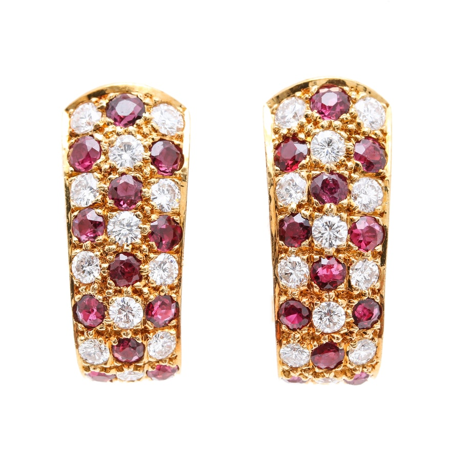 18K Yellow Gold Diamond and Ruby J-Hoop Earrings