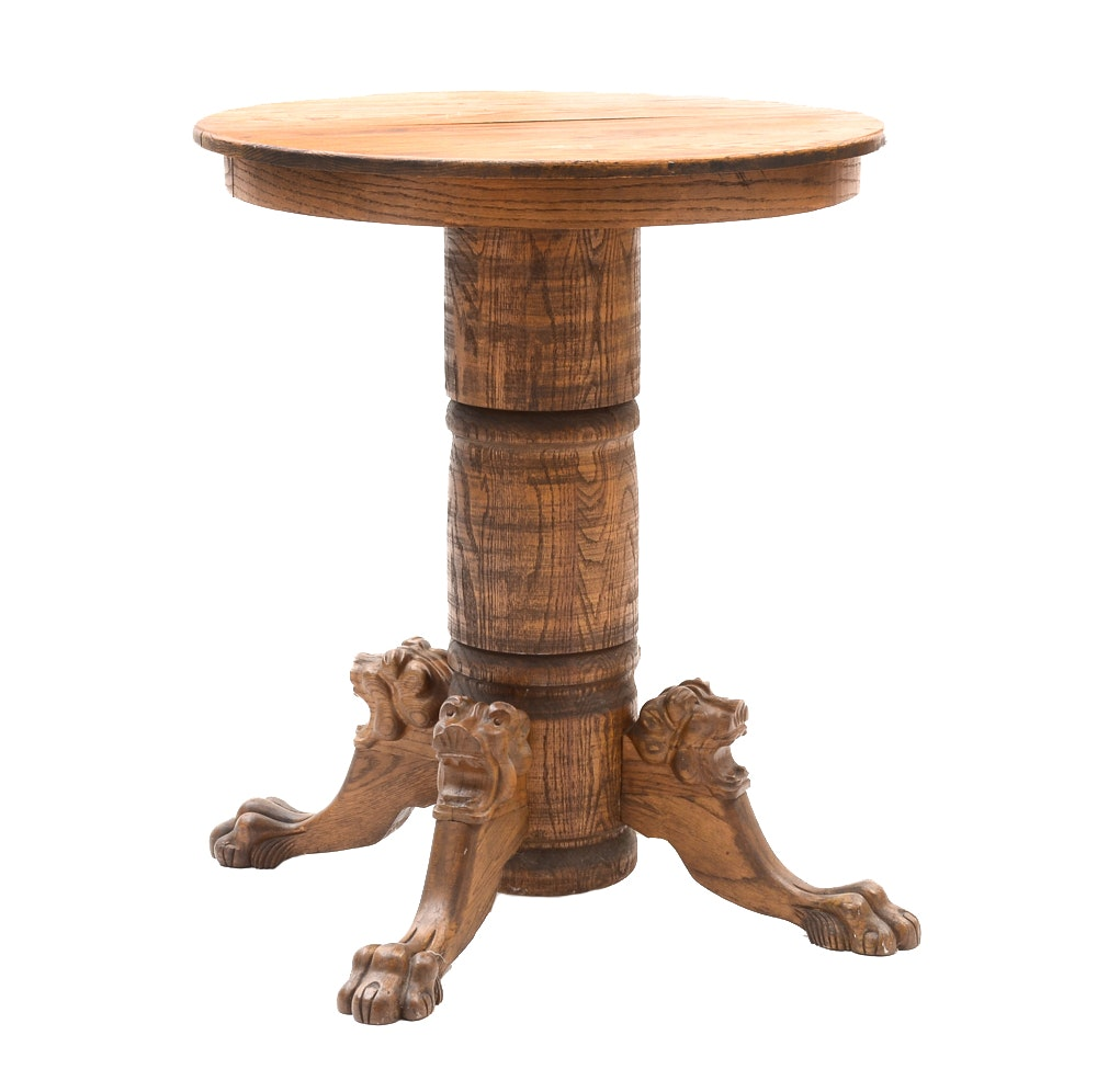Tiger Oak Bar Table with Lion Carvings