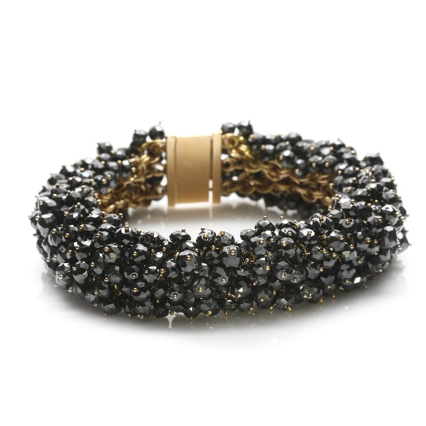 18K Yellow Gold 225.99 CTW Black Diamond Cluster Bracelet