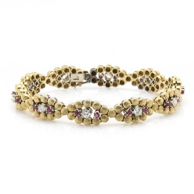 18K Yellow Gold 1.20 CTW Diamond and Ruby Bracelet