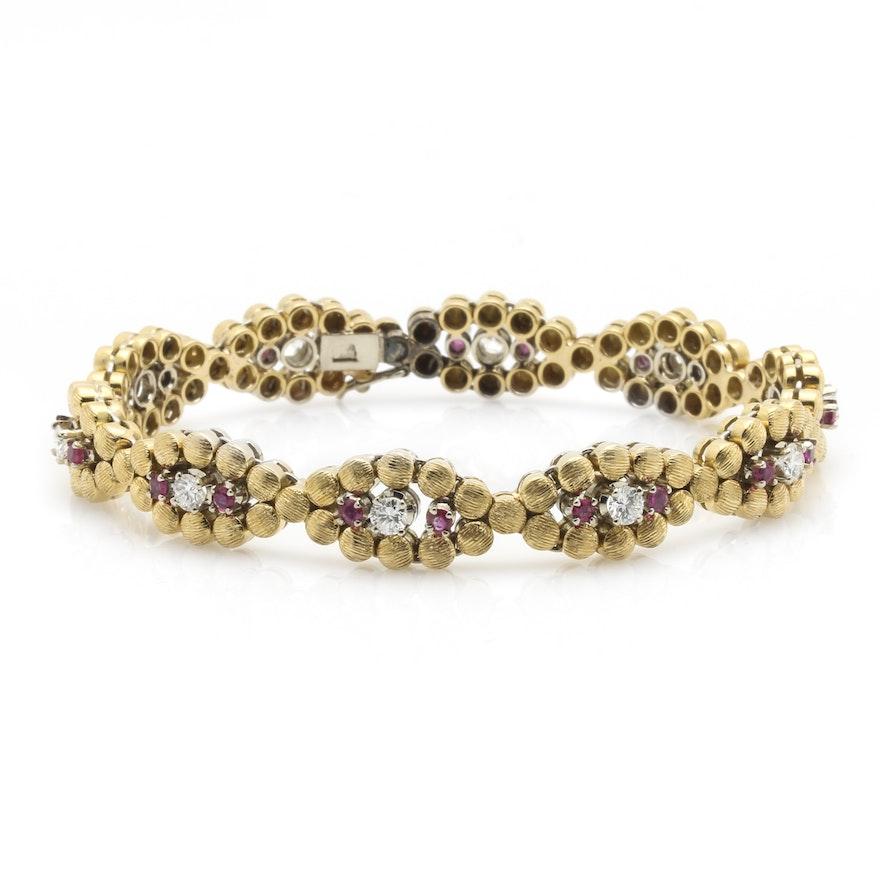 18K Yellow Gold 1.20 CTW Diamond and Ruby Bracelet