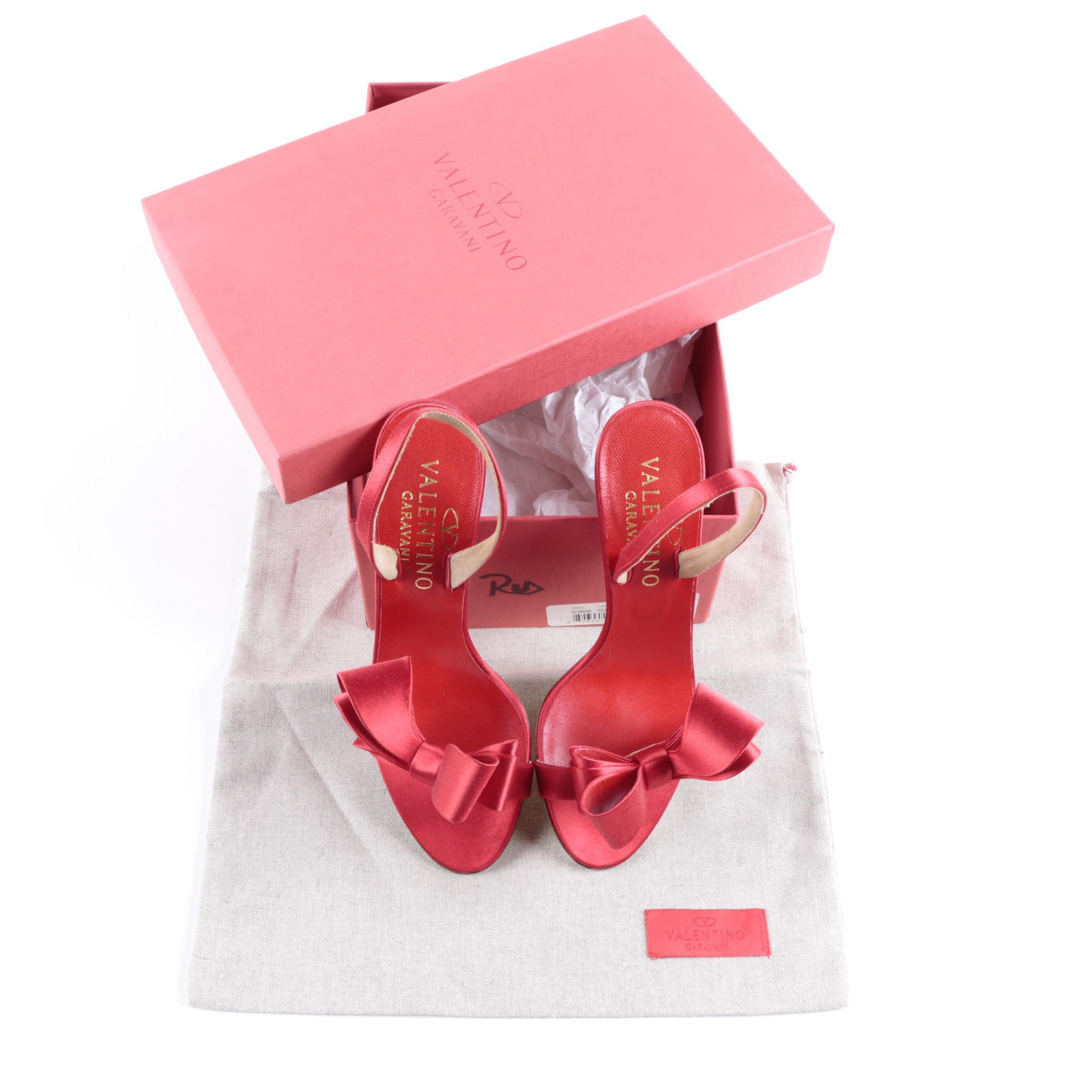 Valentino Red Satin Bow Slingbacks