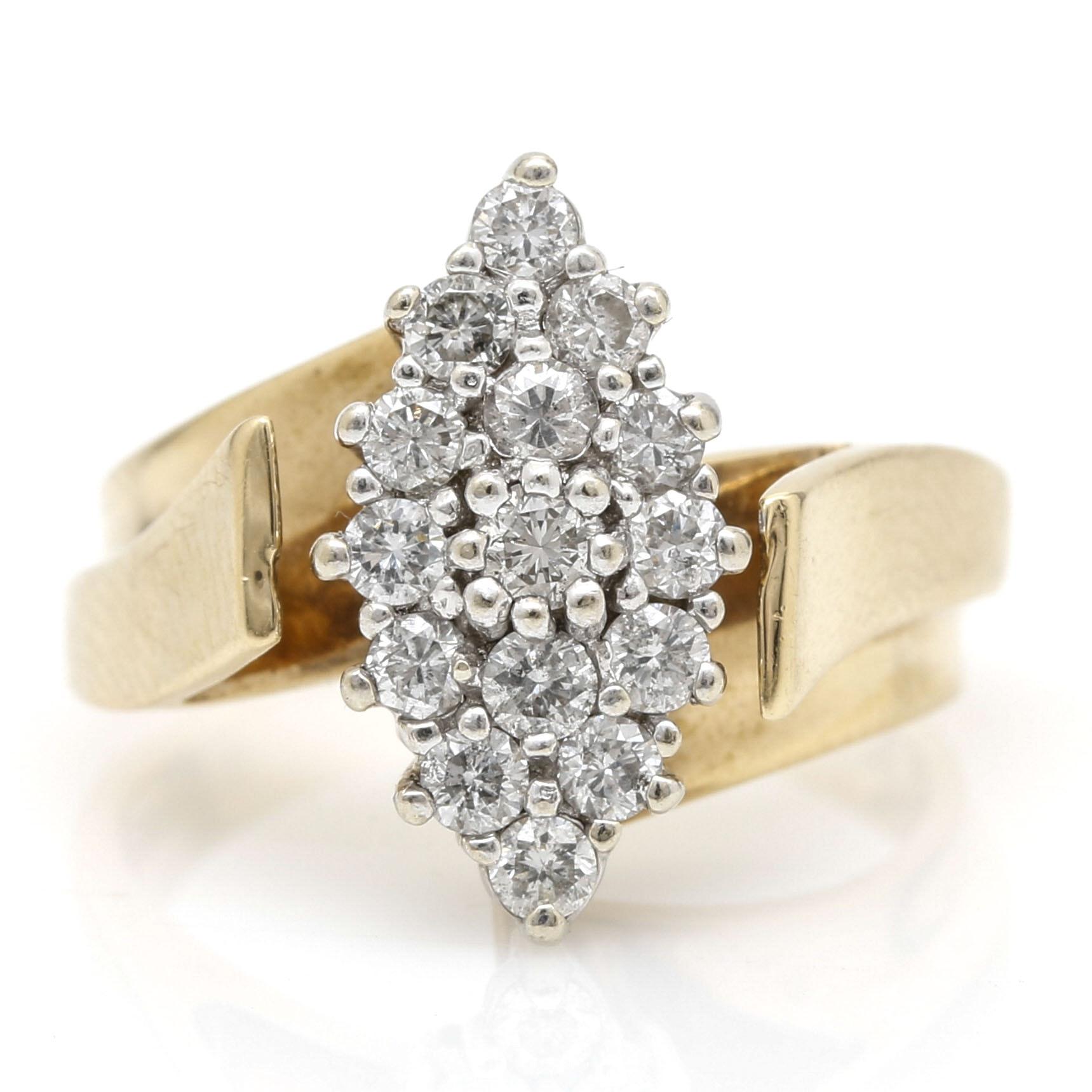 14K Two Tone  Yellow Gold Diamond Ring
