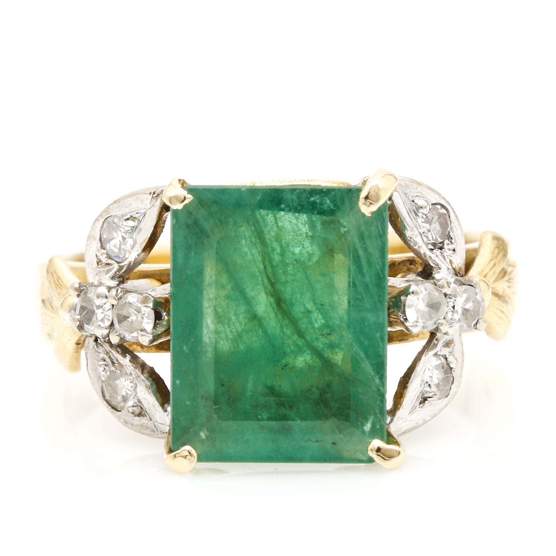 14K Two Tone Gold 2.23 CT Emerald and Diamond Ring