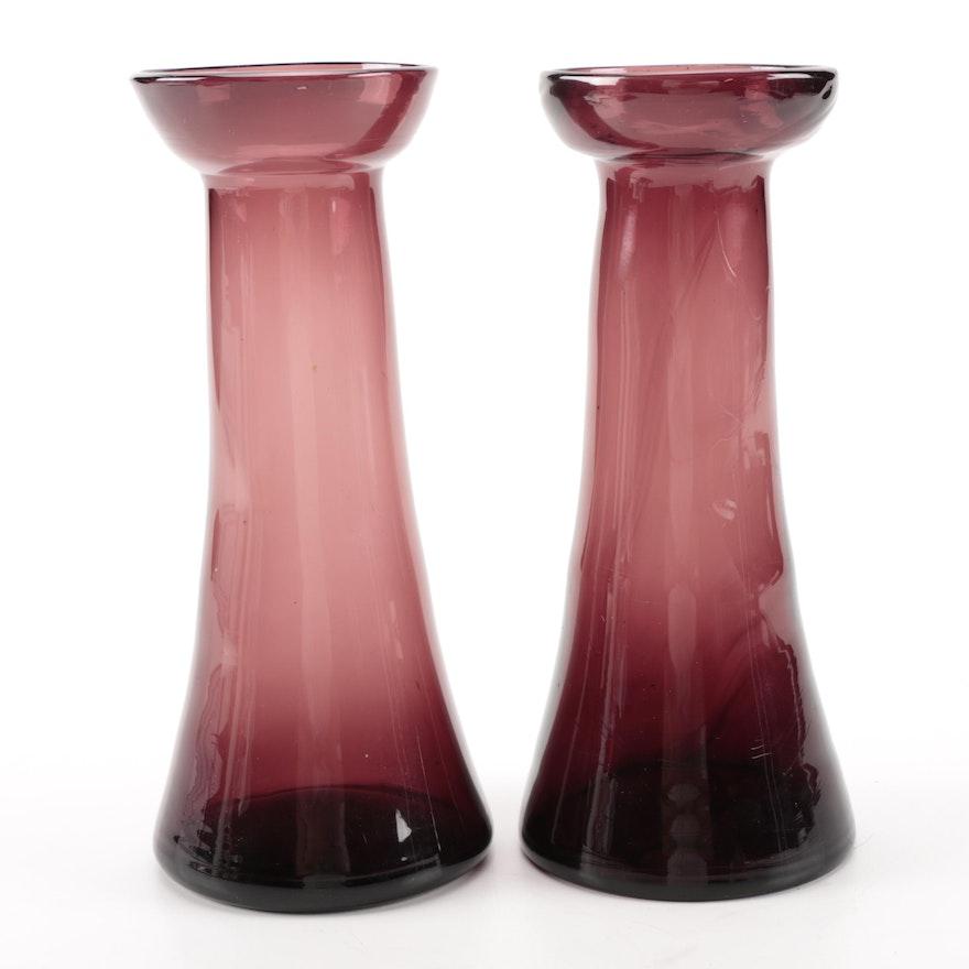 Vintage Purple Amethyst Glass Vases Ebth