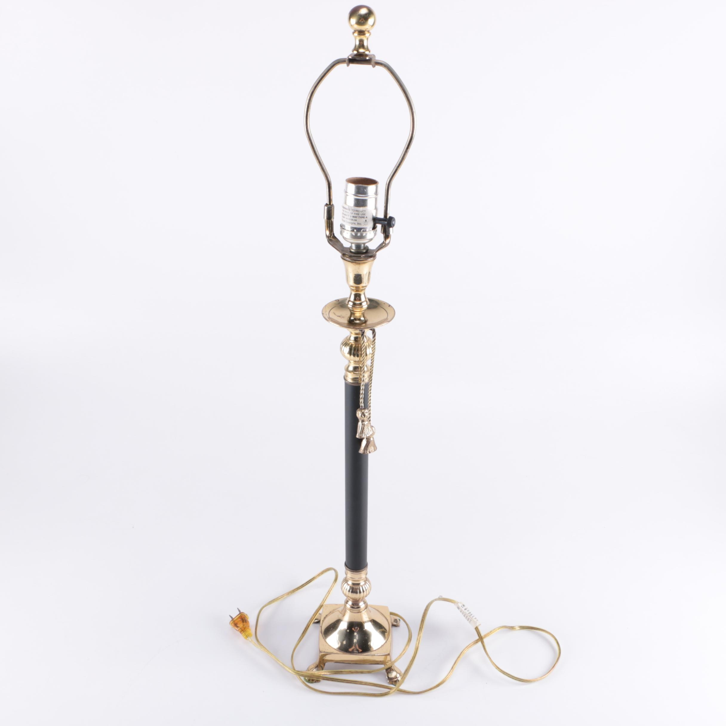 Brass Tone and Black Table Lamp