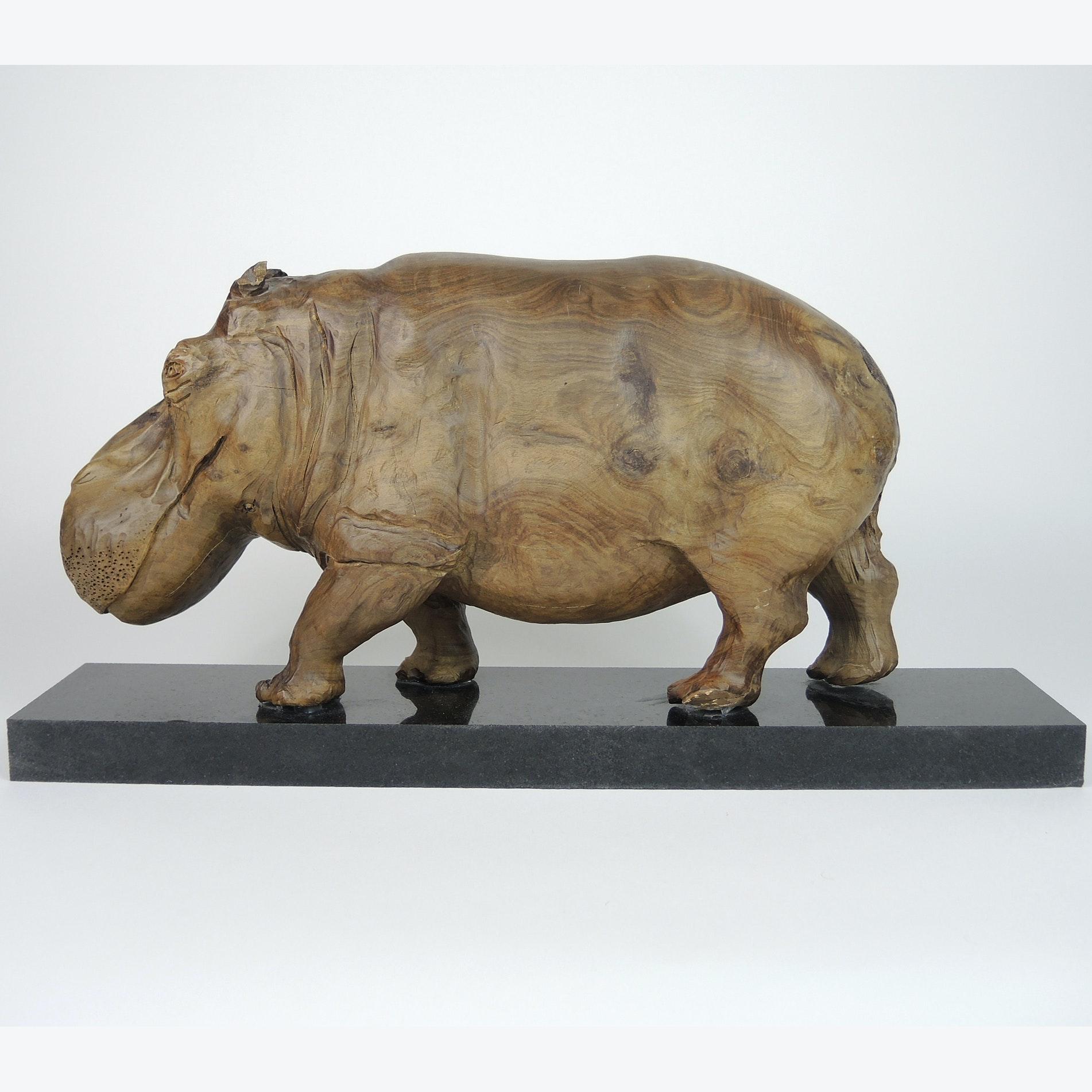 Solid Wood Hippopotamus Sculpture