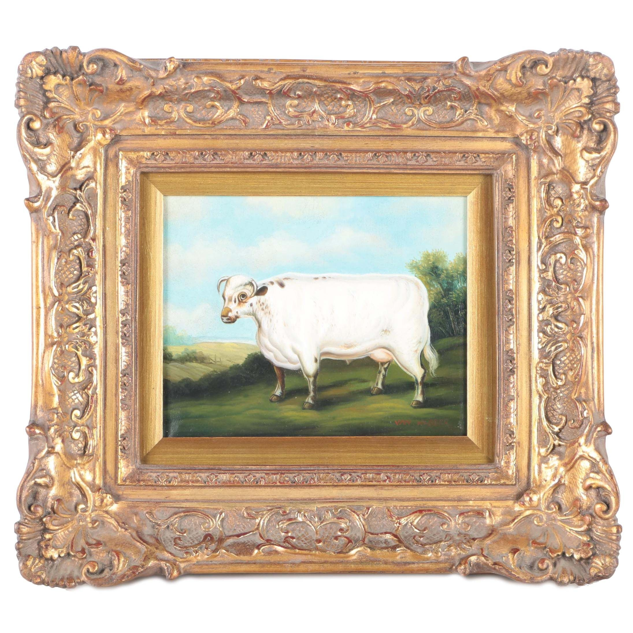 Van Webber Original Oil Painting on Canvas of a Cow
