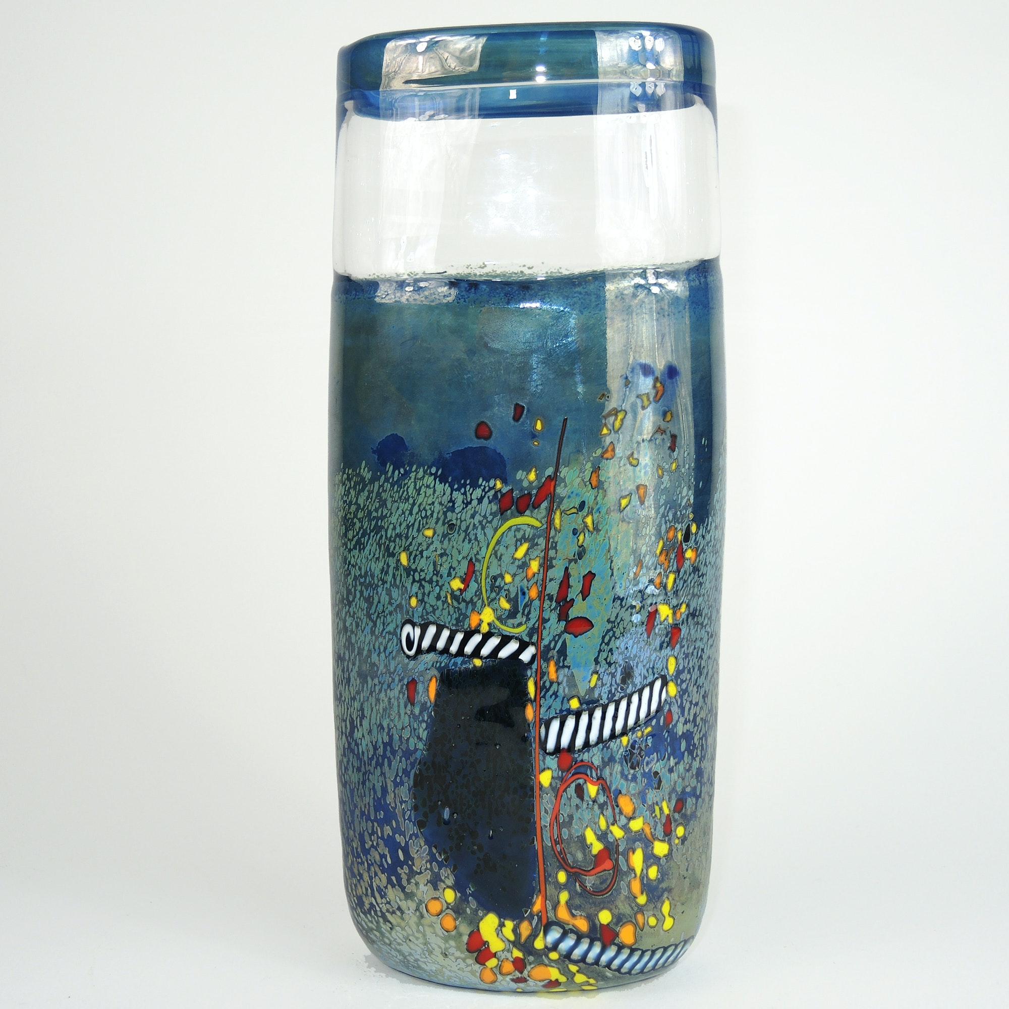 Signed Bertil Vallien Kosta Boda Art Glass Vase