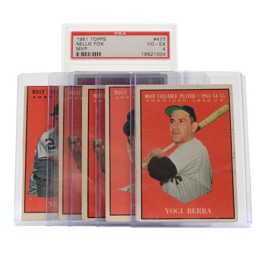 Six 1961 Topps Mvp Baseball Cards