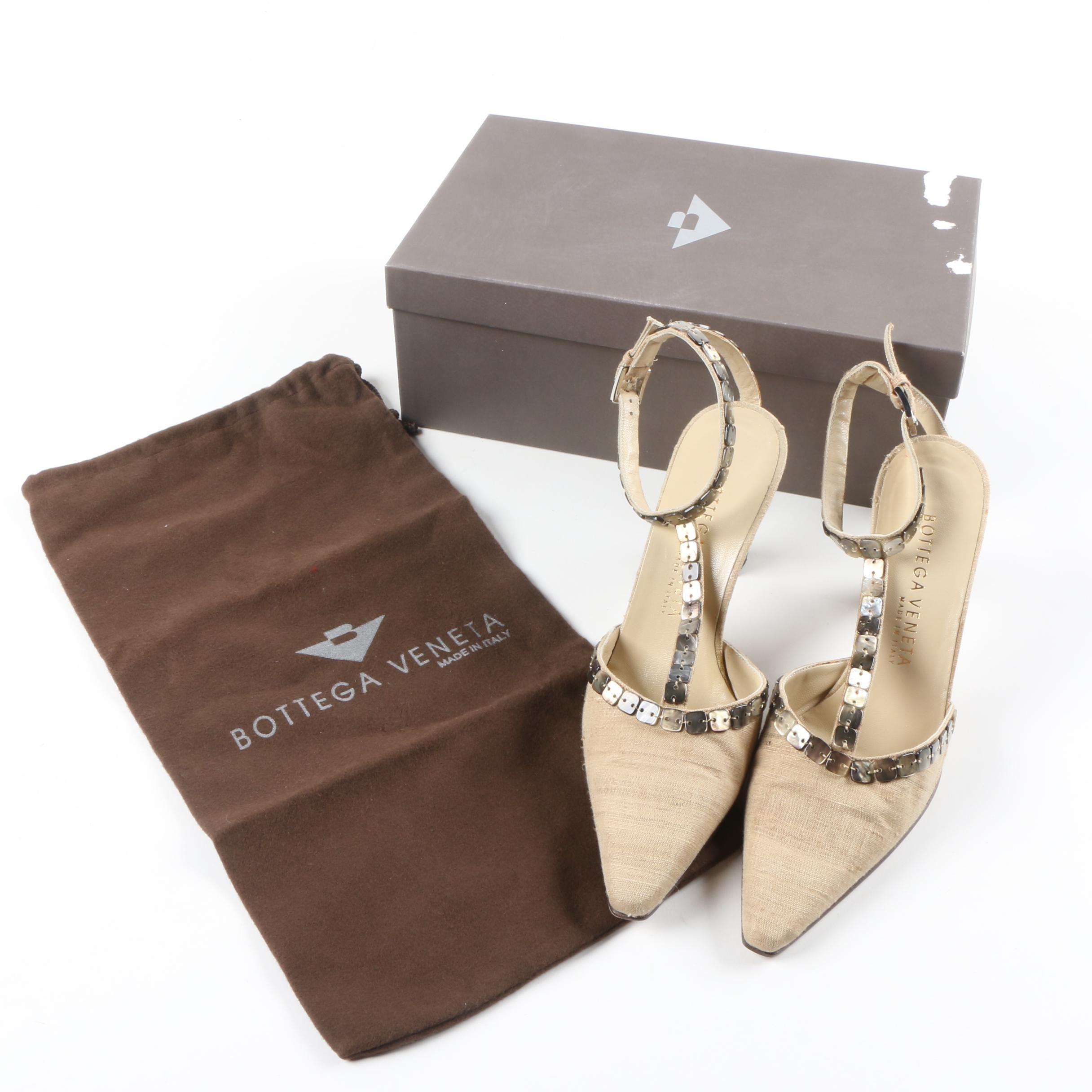 Bottega Veneta Pointed T-Strap Canvas Heels