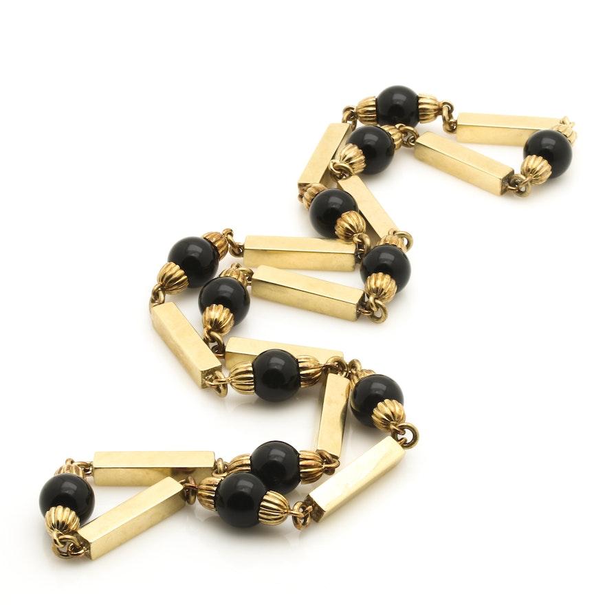 14K Yellow Gold Black Onyx Bead Necklace