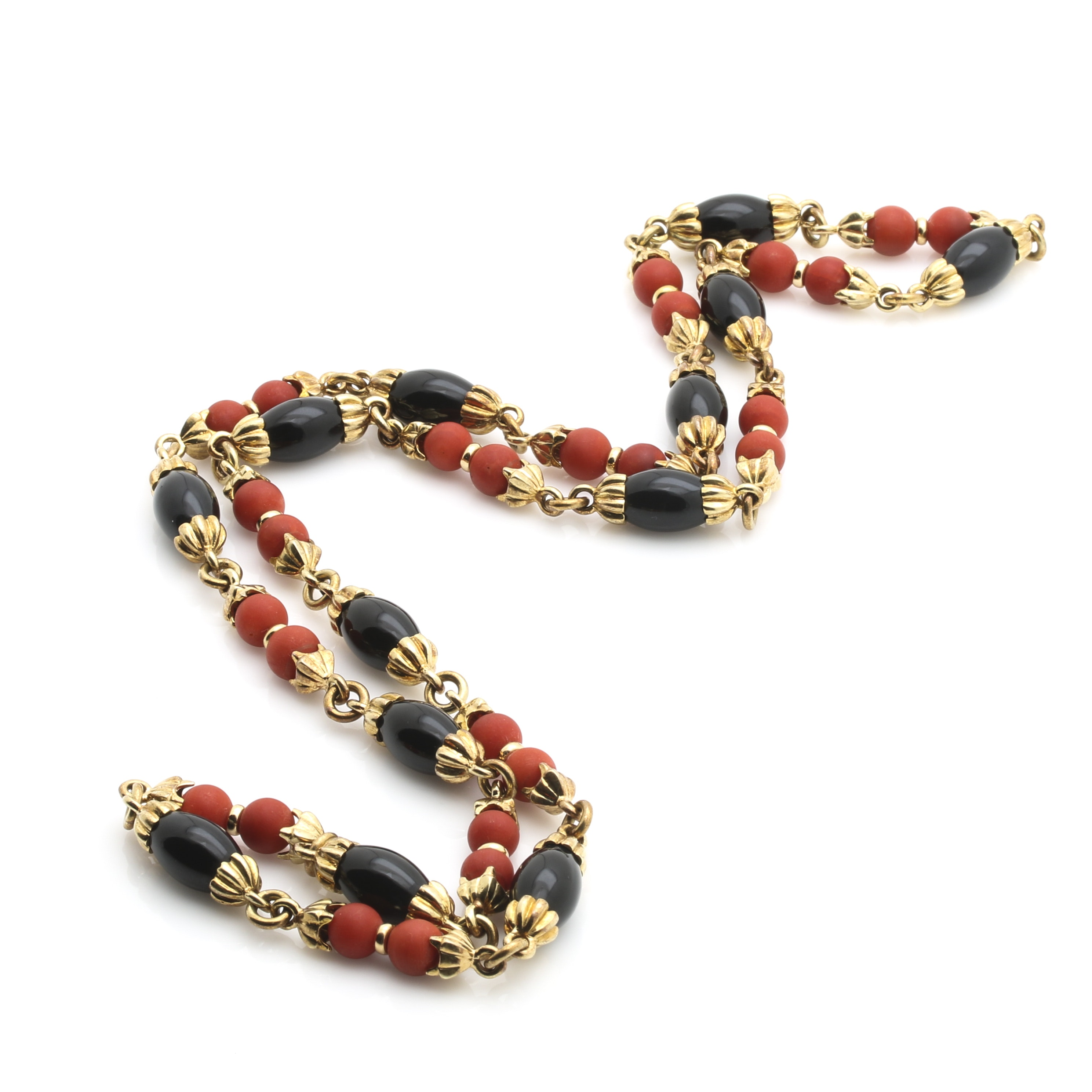 14K Yellow Gold Coral and Onyx Beaded Necklace