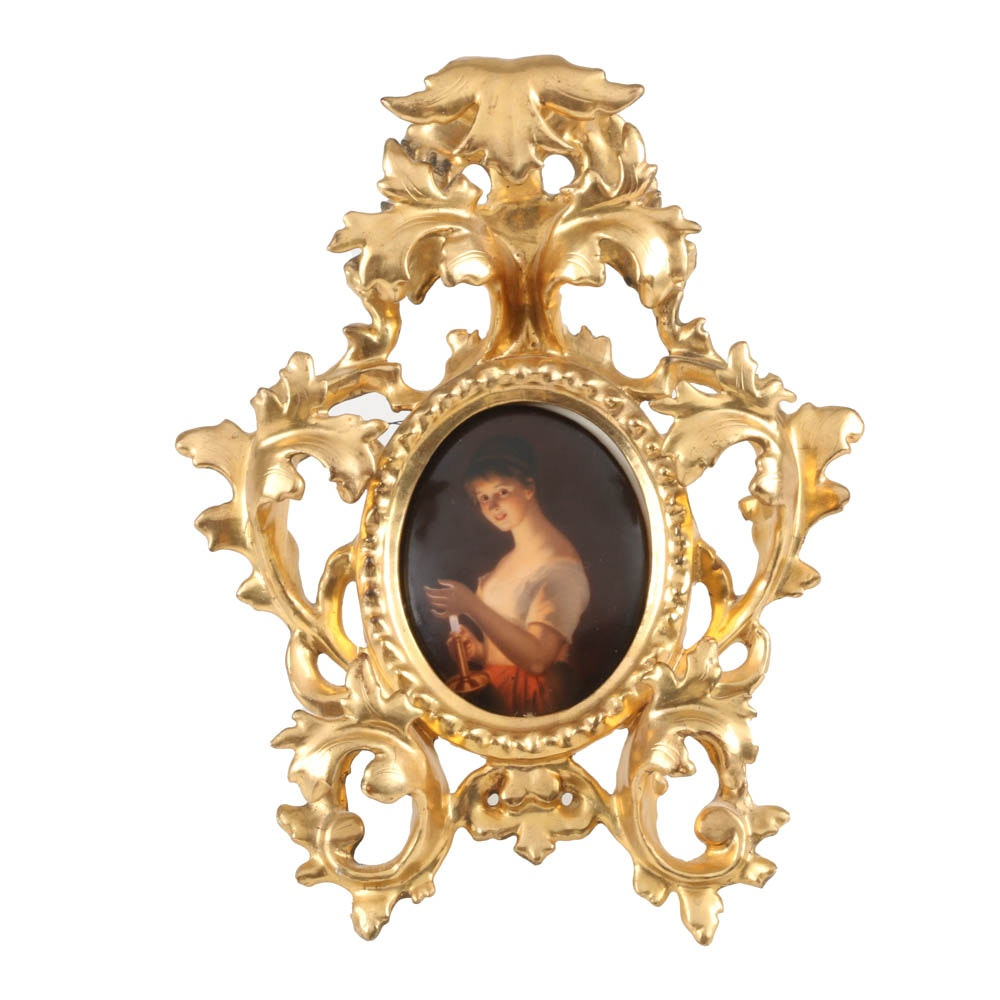 19th-Century Painted German Porcelain Plaque with Gesso Frame
