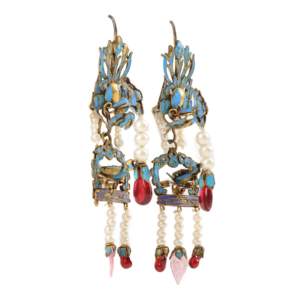 Chinese Qing Dynasty Kingfisher Feather and Jewel Earring