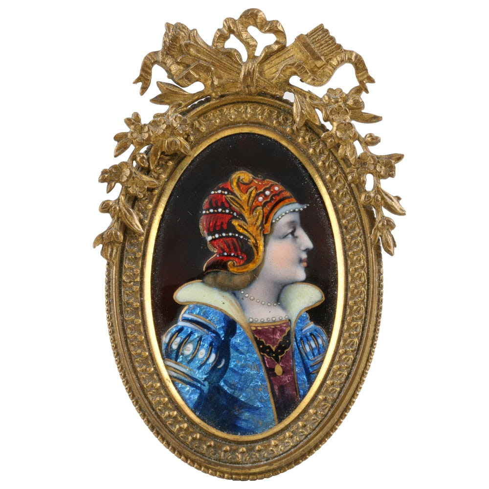 19th - Century French Enameled  Miniature Portrait