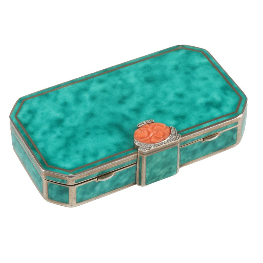 Augusta Peyroula  Art Deco Sterling, Diamond and Coral Compact
