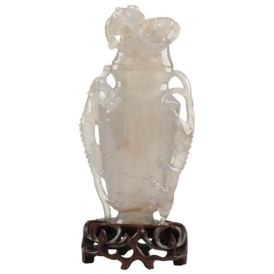 Chinese Carved Agate Chalcedony Figural Urn on Rosewood Base