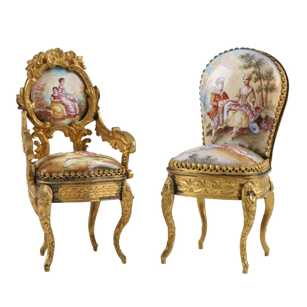 A Pair of Antique Miniature Viennese Enameled and Gilt Chairs