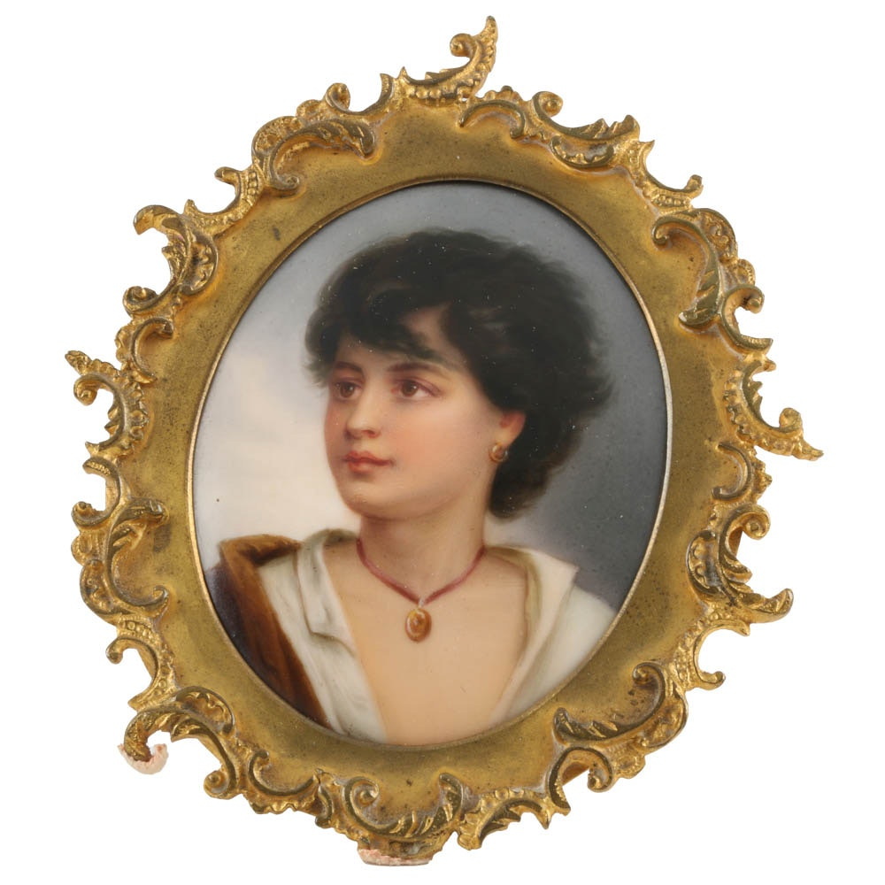 Antique KPM Style Female Portrait on Porcelain with Brass Frame