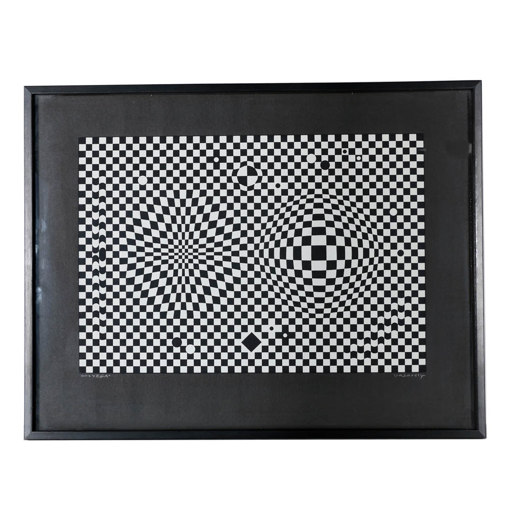 "Victor Vasarely Limited Edition Serigraph on Paper ""Vega"""