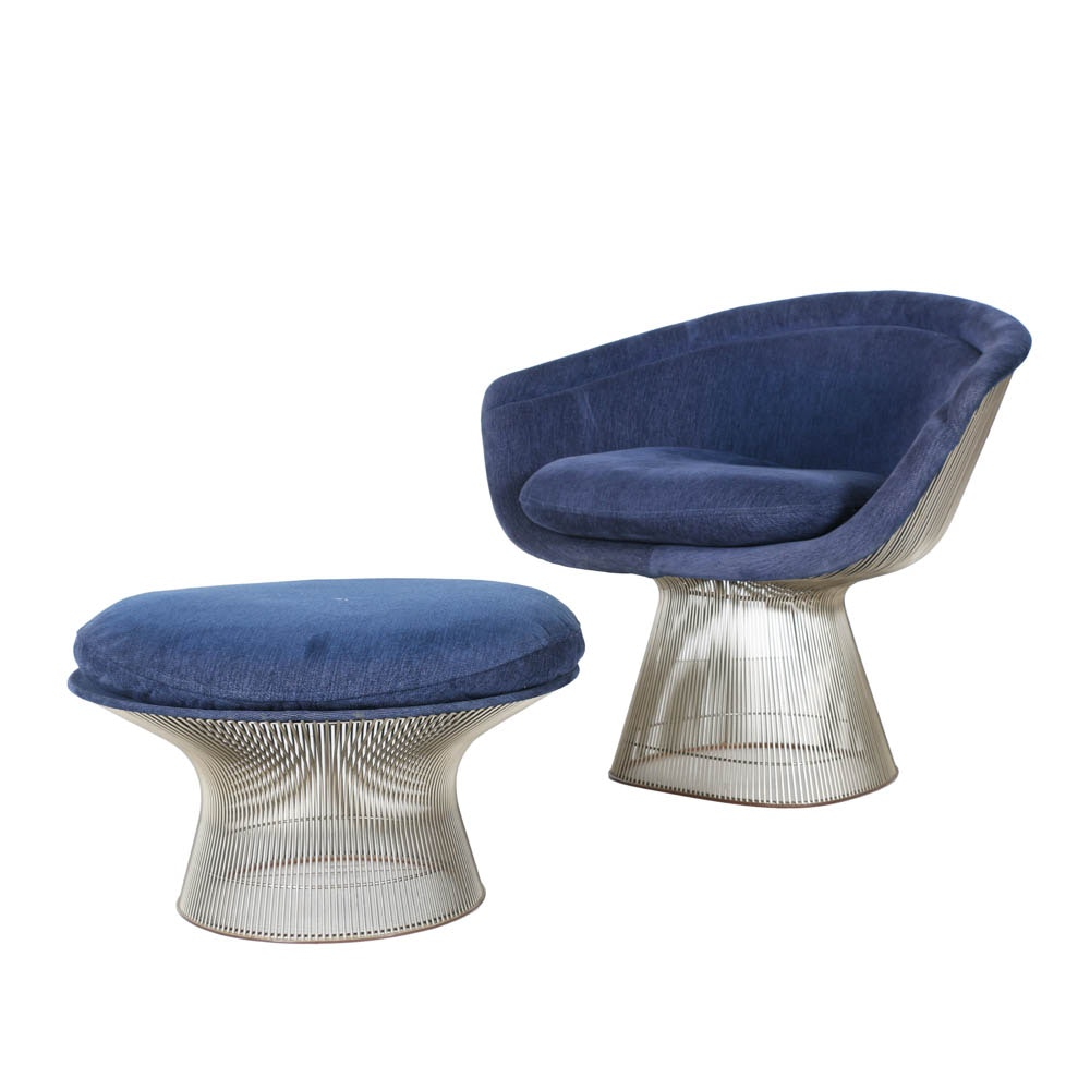 Warren Platner Lounge Chair and Ottoman for Knoll Furniture