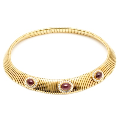 18K Yellow Gold 10.25 CTW Ruby and 1.50 CTW Diamond Omega Necklace