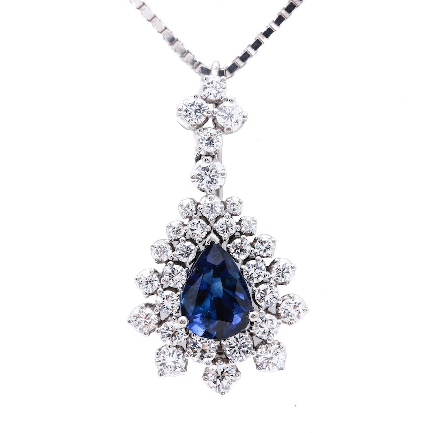 18K White Gold 1.97 CT Sapphire and 1.75 CTW Diamond Pendant Brooch with 14K White Gold Box Chain