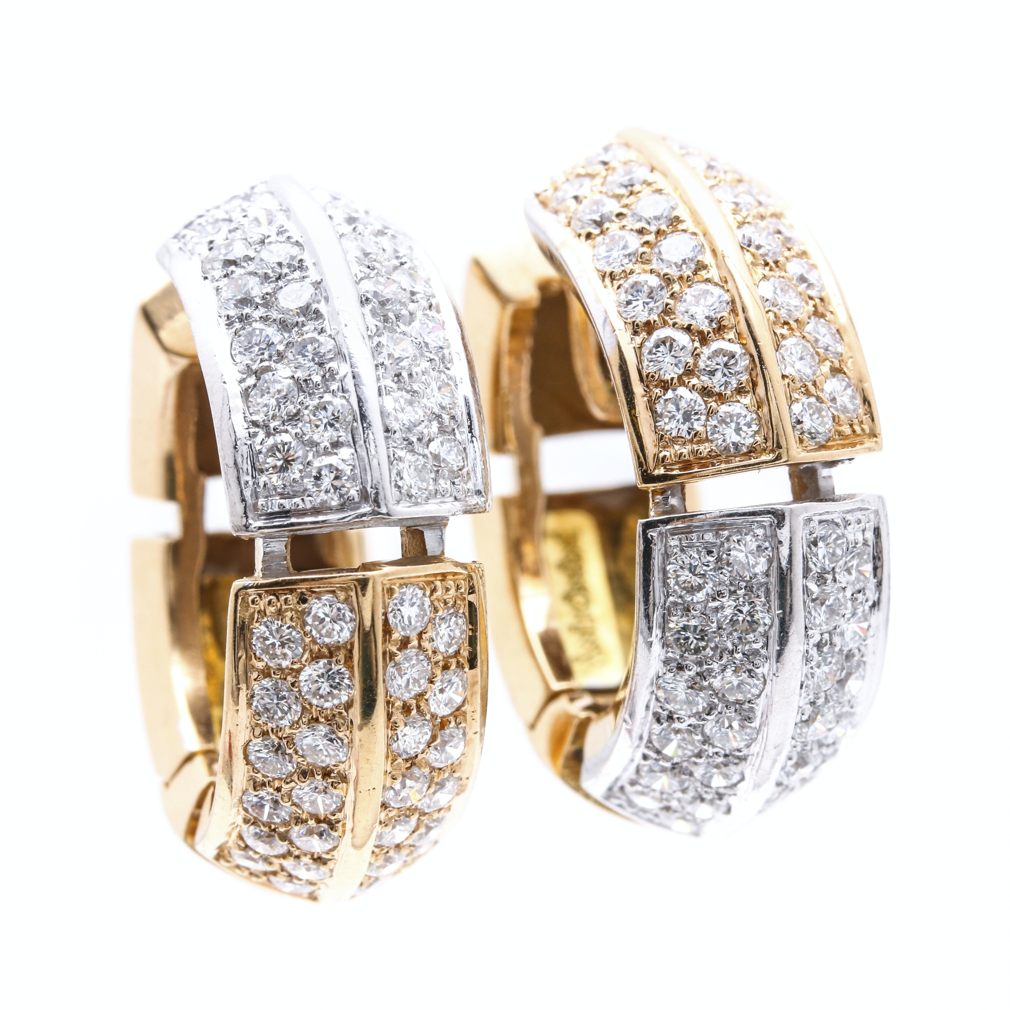 Antonini 18K Two Tone Gold 2.20 CTW Diamond Huggie Earrings