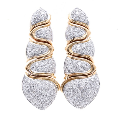 18K Two Tone Gold 3.90 CTW Diamond Drop Earrings